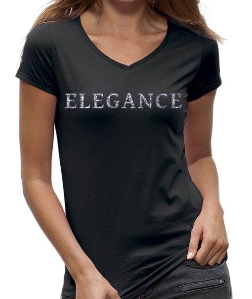 Elegance glitter zilver t-shirt sparkle dames