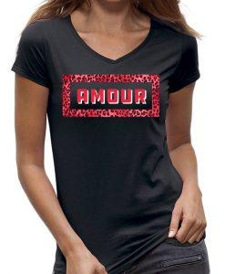 amour-t-shirt-zwart-V-hals