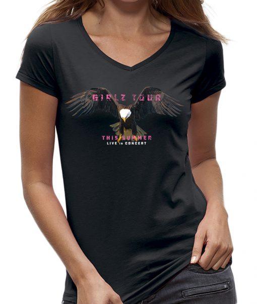 Eagle t-shirts dames girls adelaar kleur zwart V-hals