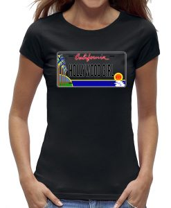 Hollywood California t-shirt girl zwart