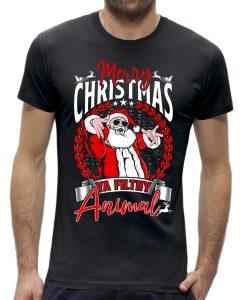 Foute kerst t-shirt heren mannen heren Santa filthy