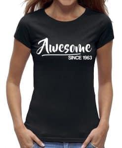 60 jaar t-shirt vrouw verjaardag awesome