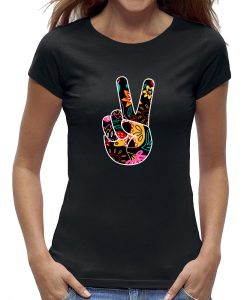 peace sign hand t-shirt vrouw
