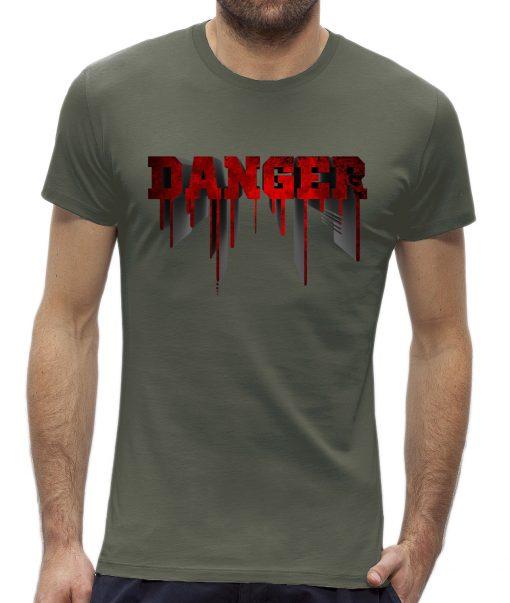 Danger t-shirt man heren Khaki