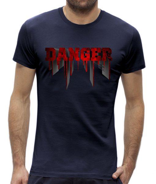 Danger t-shirt man heren Navy