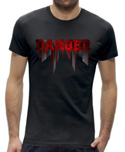 Danger t-shirt man heren Zwart