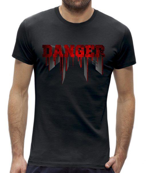 Danger t-shirt man heren Zwart