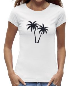 Palmboom t-shirt wit
